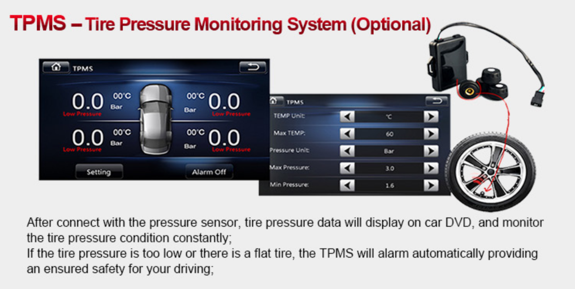Tire Pressure Monitor >> Tyre Pressure Monitor System Tpms For Car Dvd Head Unit Models Pma Auto Works
